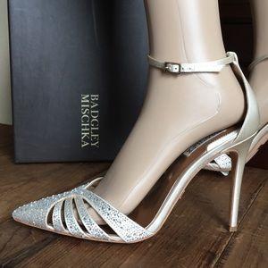 Badgley Mischka Ivory Satin Bridal Heels